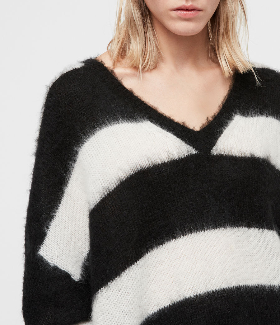 Women's Byers V-neck Jumper (black_cream) - Image 2