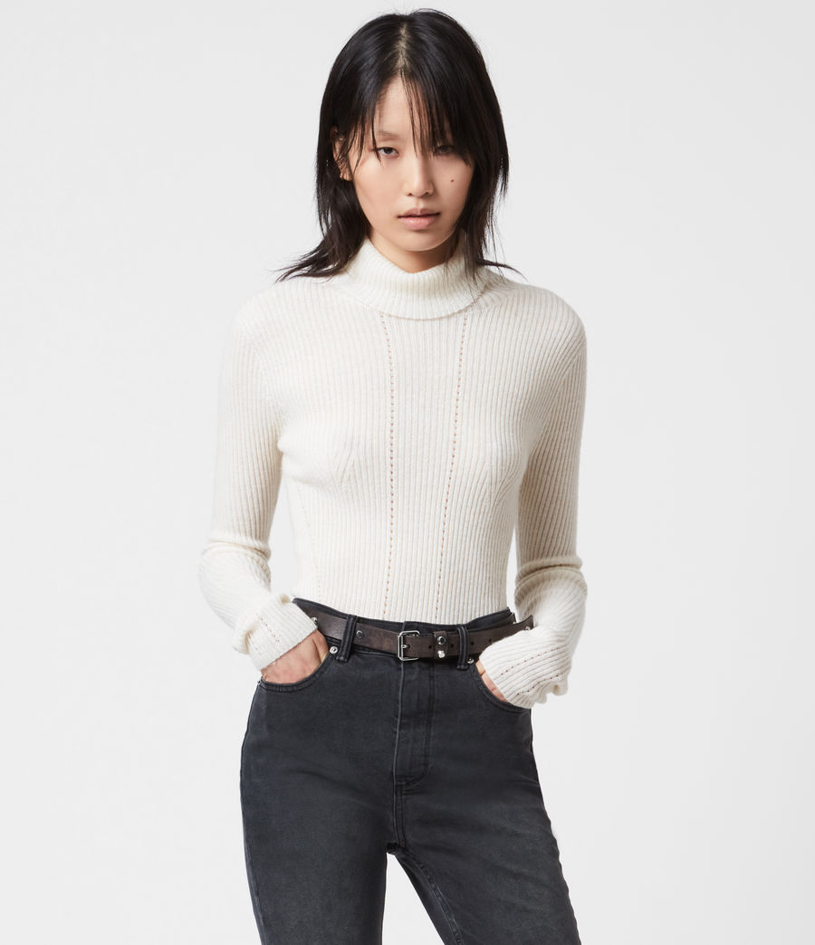 Womens Seamless Roll Neck Sweater (chalk_white) - Image 1