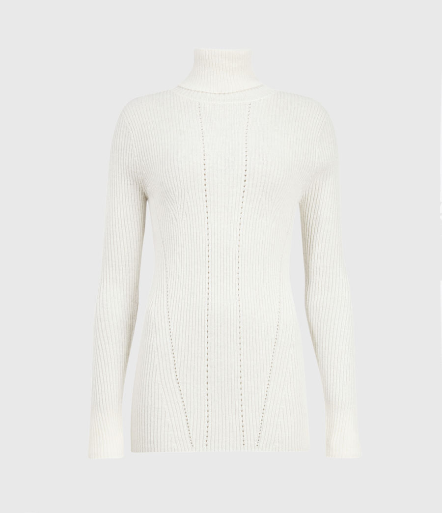 Womens Seamless Roll Neck Sweater (chalk_white) - Image 2