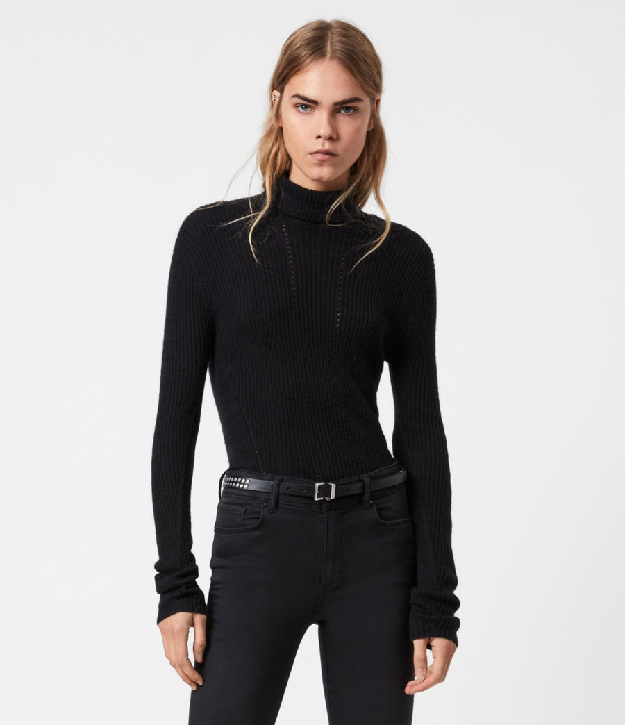 Womens Seamless Roll Neck Sweater (black) - Image 1