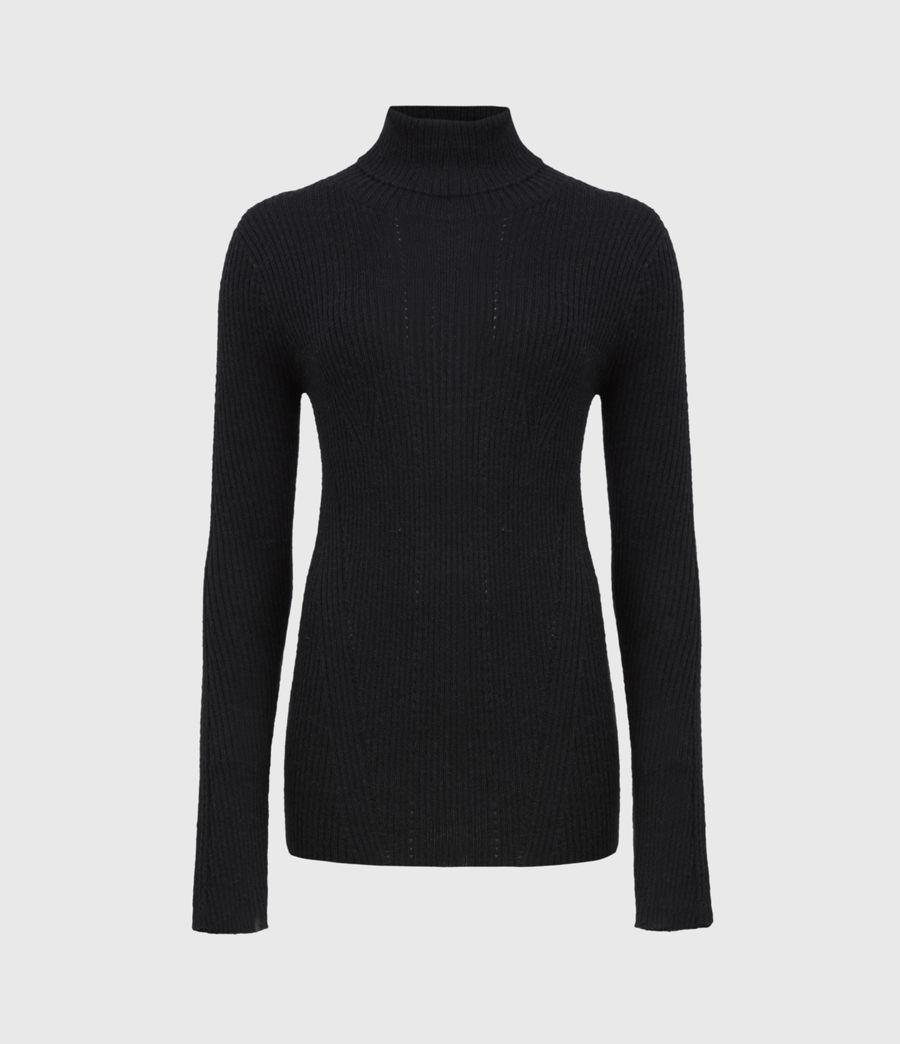 Women's Seamless Roll Neck Jumper (black) - Image 2