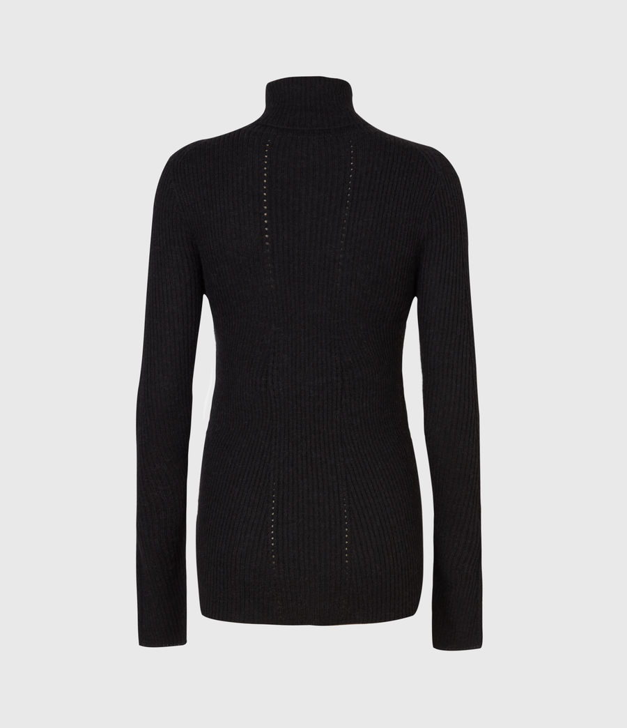 Womens Seamless Roll Neck Sweater (black) - Image 3