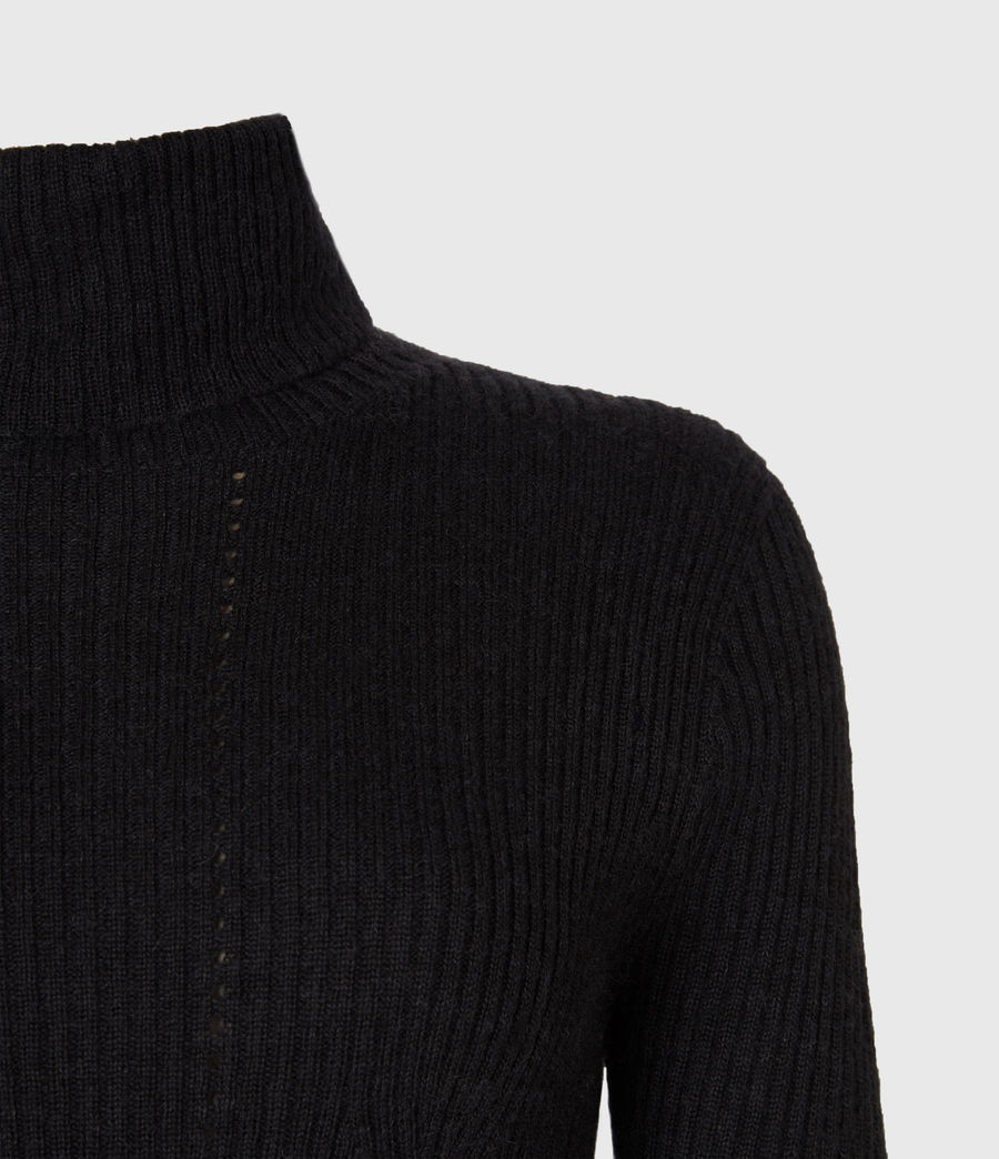 Womens Seamless Roll Neck Sweater (black) - Image 4