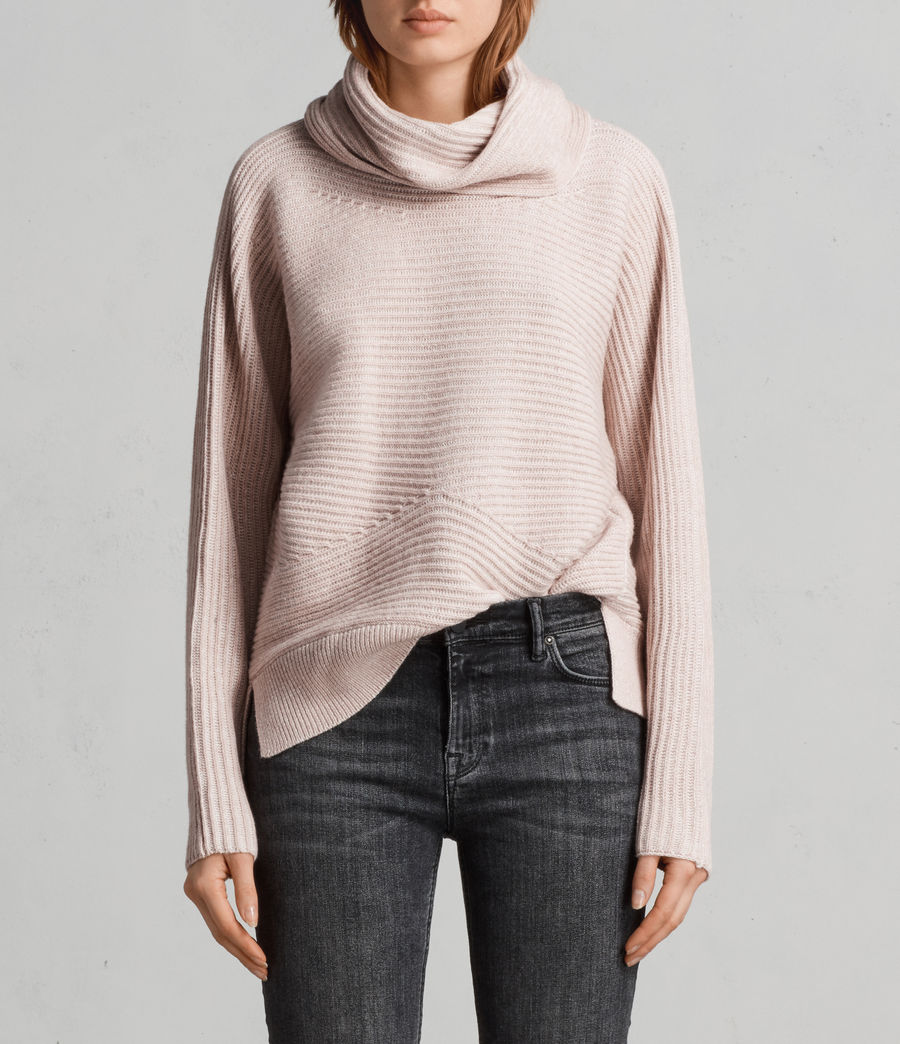 Women's Mesa Roll Neck Jumper (whisper_pink) - Image 1
