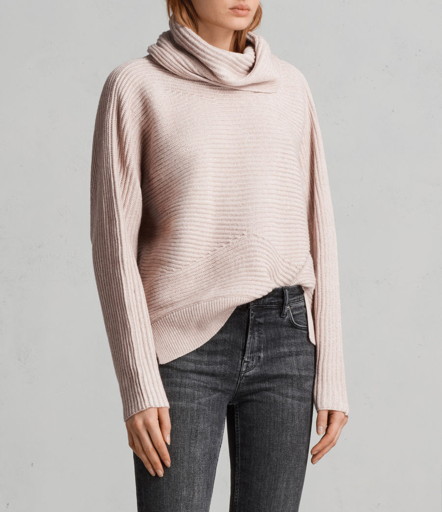 Women's Mesa Roll Neck Jumper (whisper_pink) - Image 3