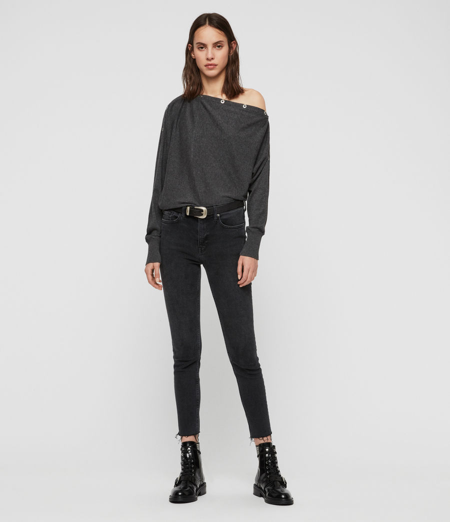 Womens Elle Eyelet Sweater (charcoal_grey) - Image 1