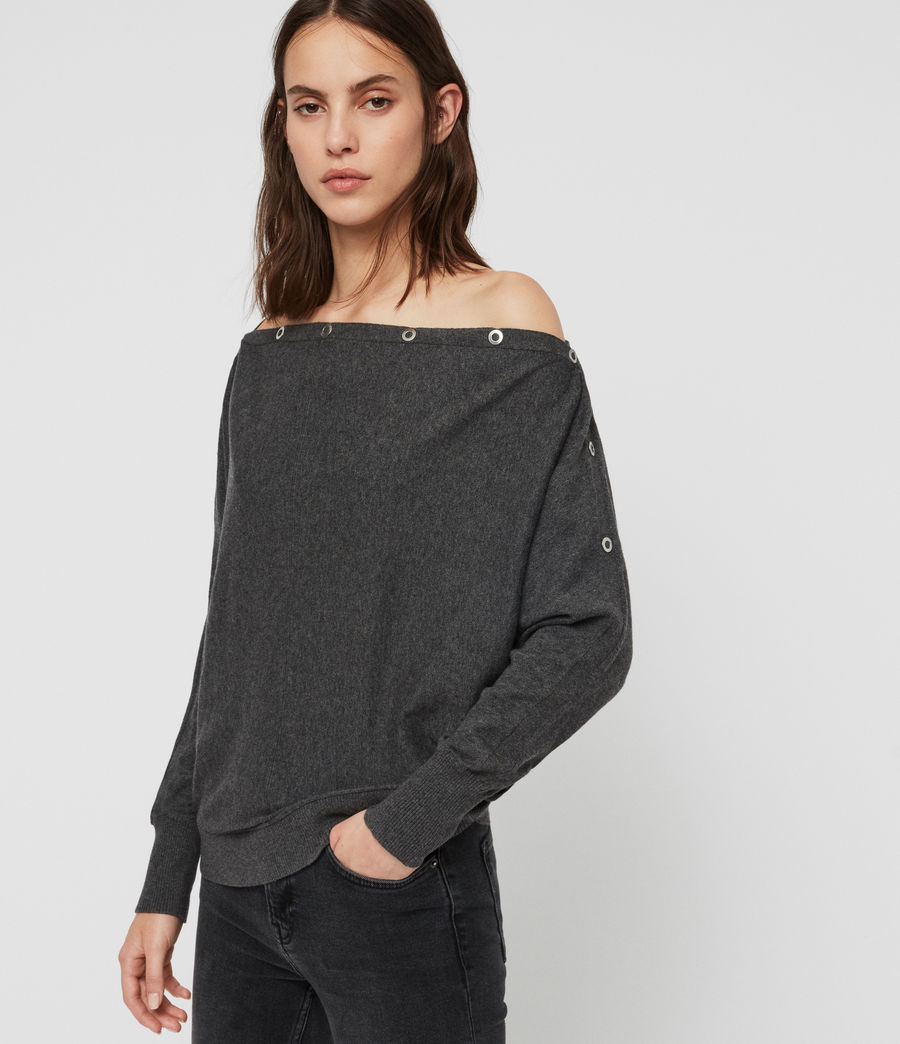Womens Elle Eyelet Sweater (charcoal_grey) - Image 2