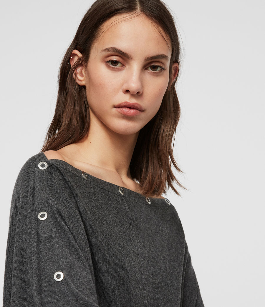 Womens Elle Eyelet Sweater (charcoal_grey) - Image 3