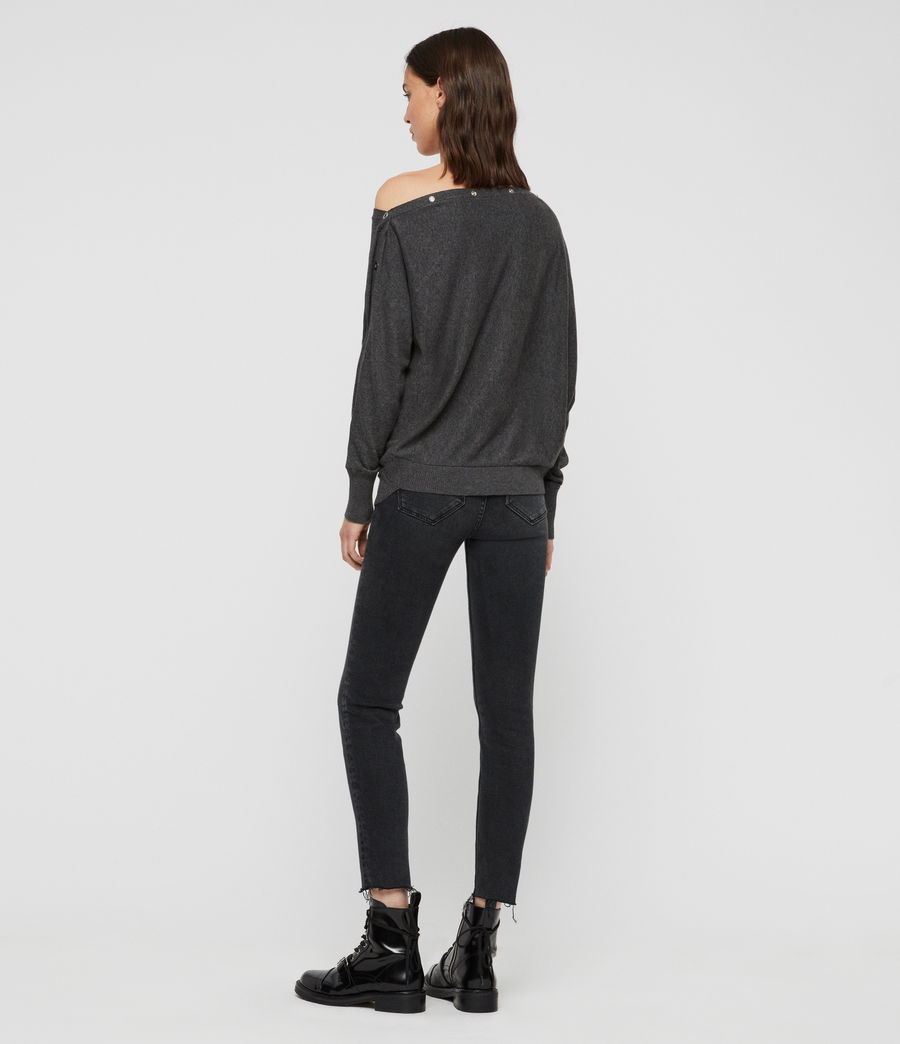 Womens Elle Eyelet Sweater (charcoal_grey) - Image 4
