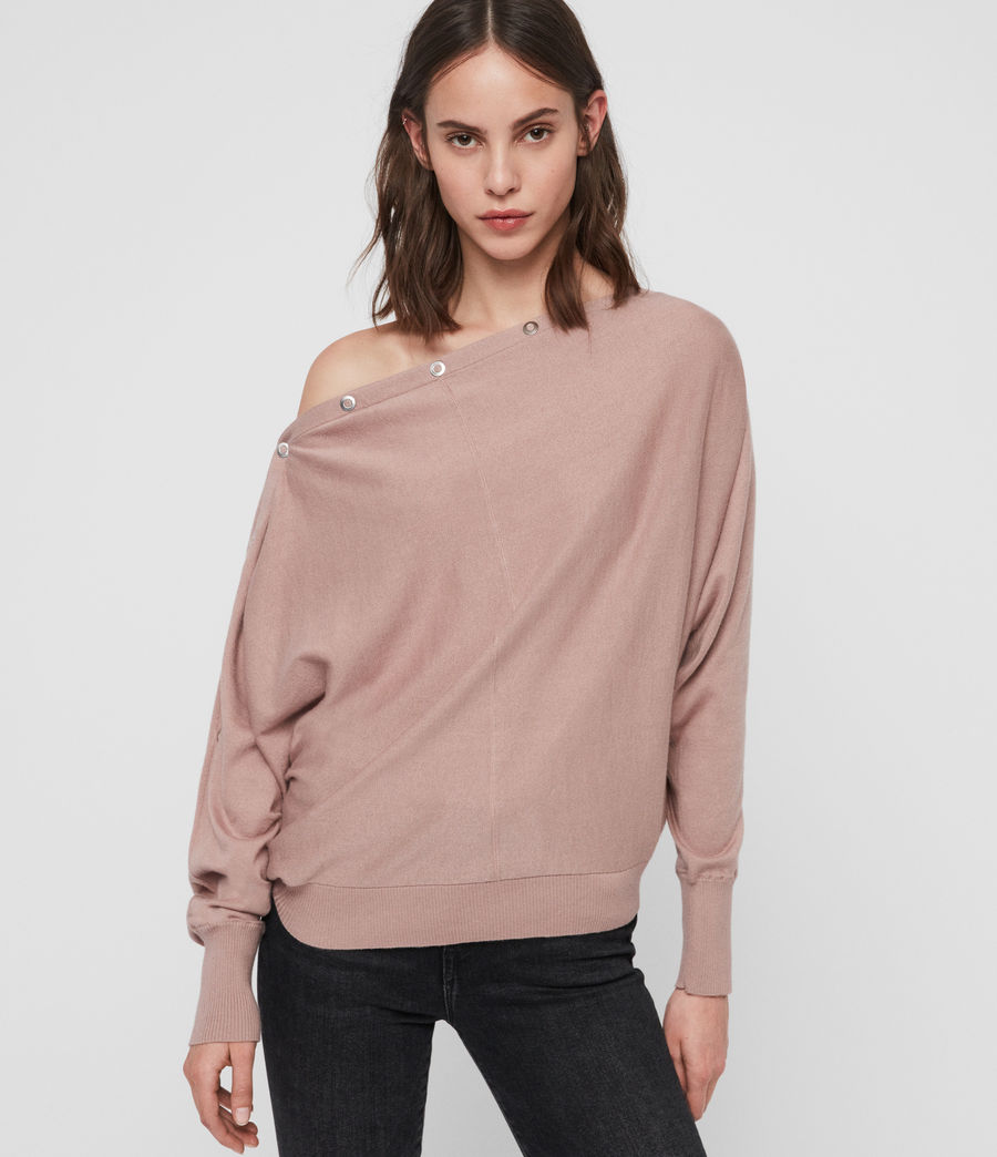 Womens Elle Eyelet Sweater (sorrel_pink) - Image 1