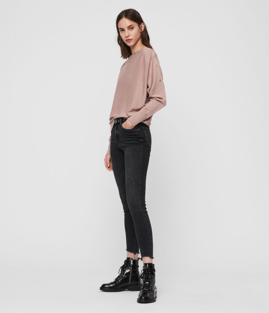Womens Elle Eyelet Sweater (sorrel_pink) - Image 3