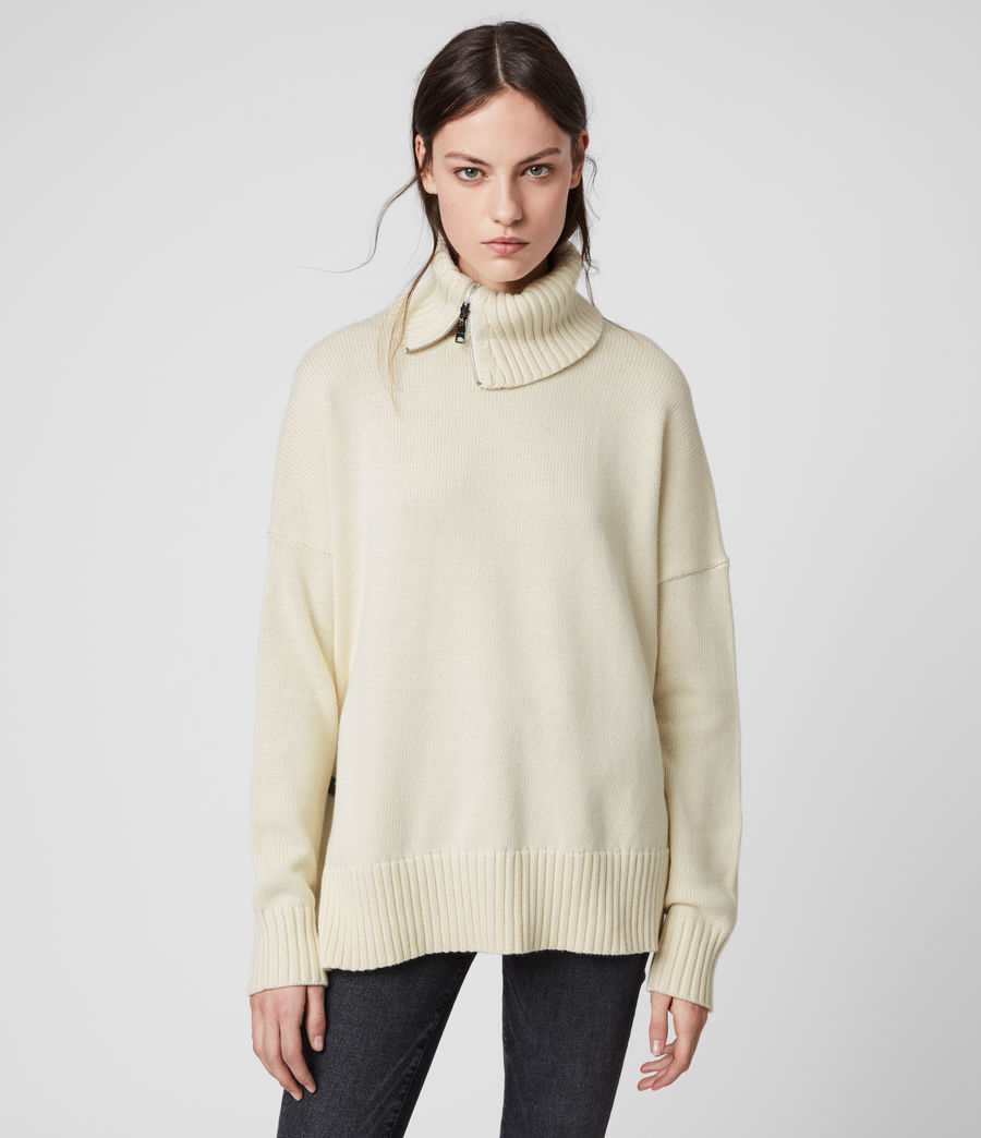 Womens Witby Zip Sweater (chalk_white) - Image 1