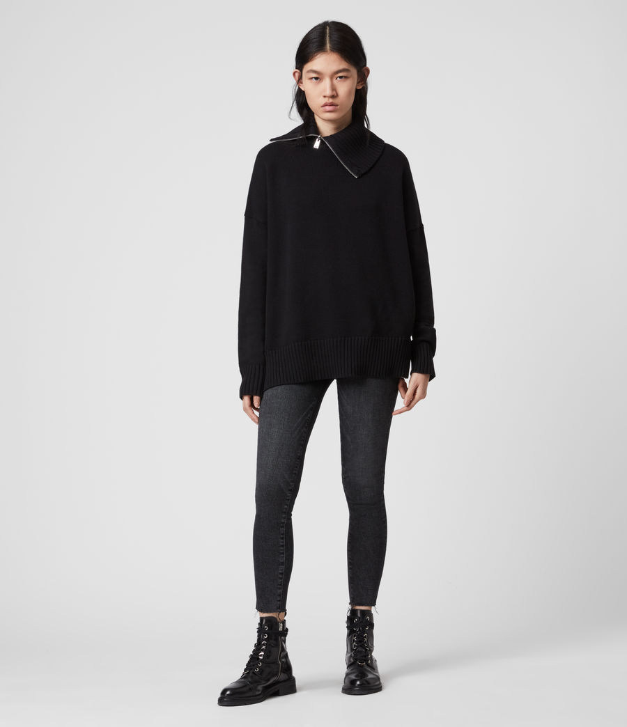 Mujer Witby Zip Sweater (black) - Image 1