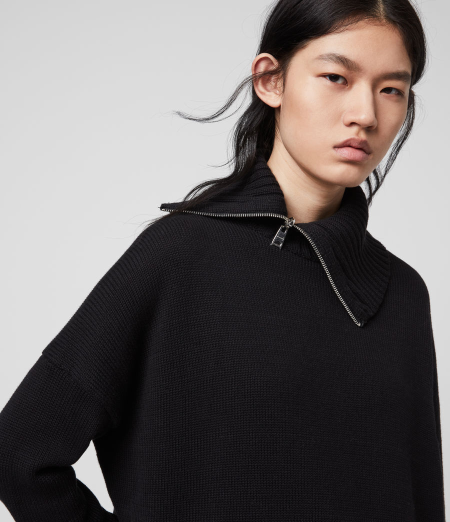 Womens Witby Zip Sweater (black) - Image 2