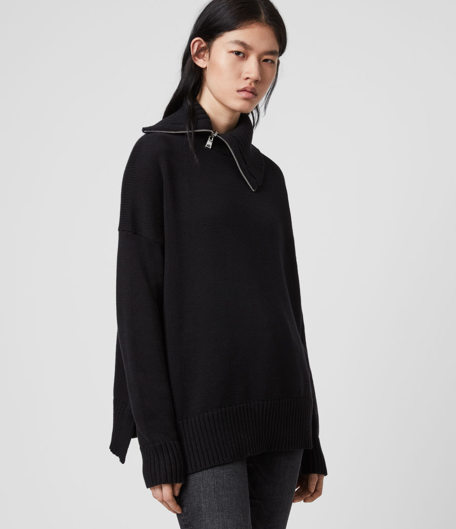 Womens Witby Zip Sweater (black) - Image 1