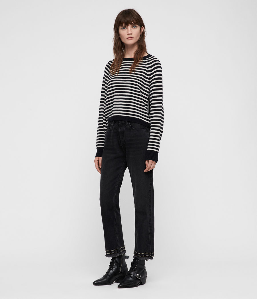 Womens Marcel Cropped Sweater (inknavy_ecruwhite) - Image 1