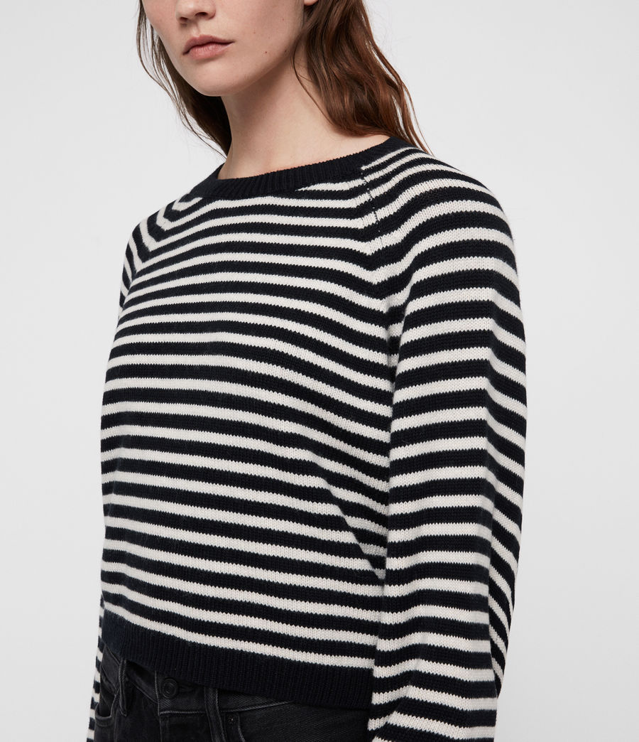 Mujer Marcel Cropped Sweater (inknavy_ecruwhite) - Image 2