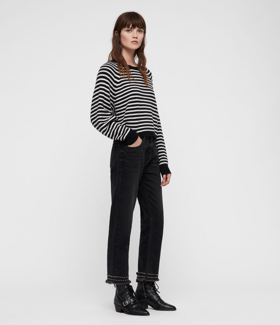 Womens Marcel Cropped Sweater (inknavy_ecruwhite) - Image 3