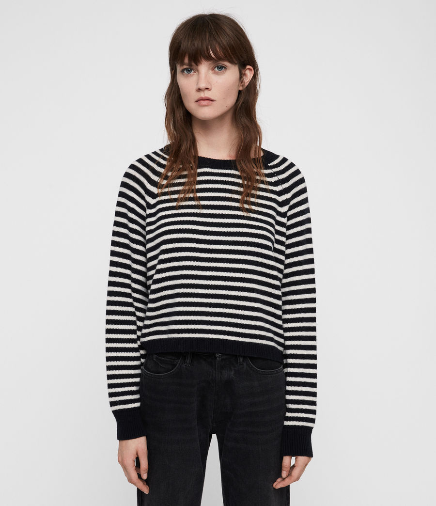 Mujer Marcel Cropped Sweater (inknavy_ecruwhite) - Image 4