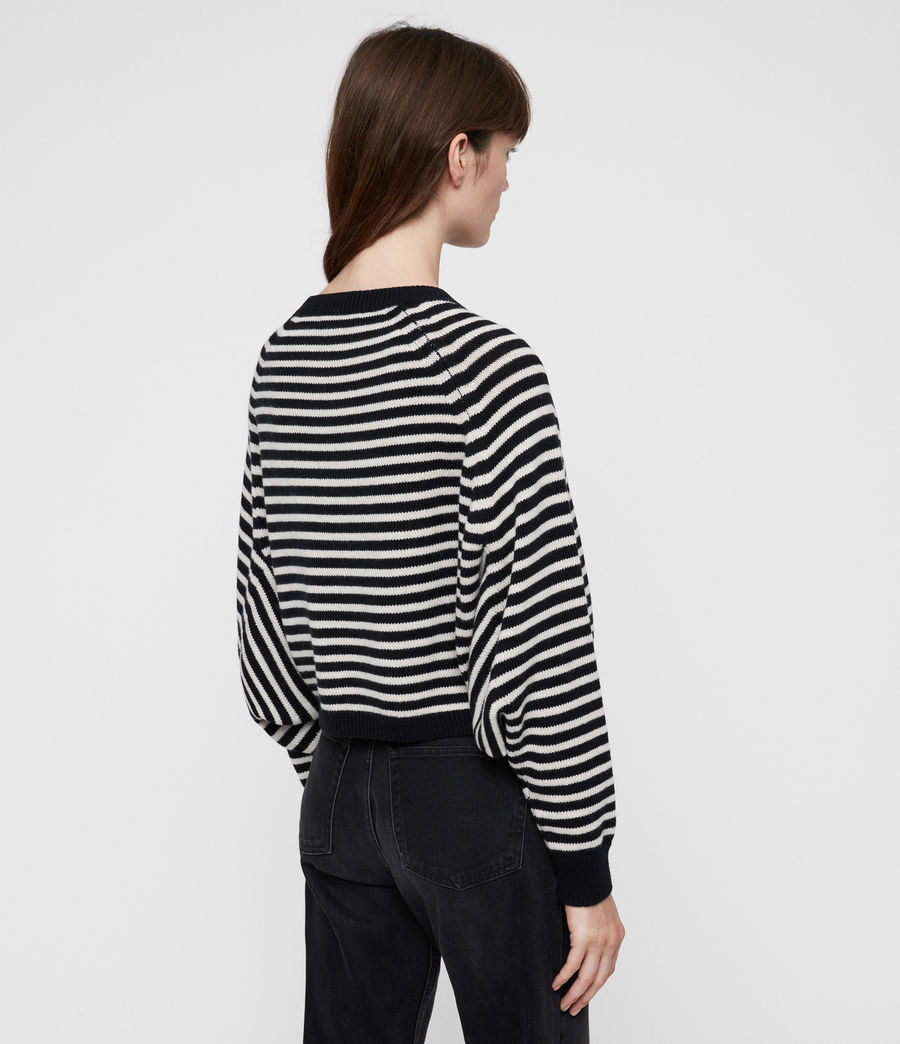Womens Marcel Cropped Sweater (inknavy_ecruwhite) - Image 5