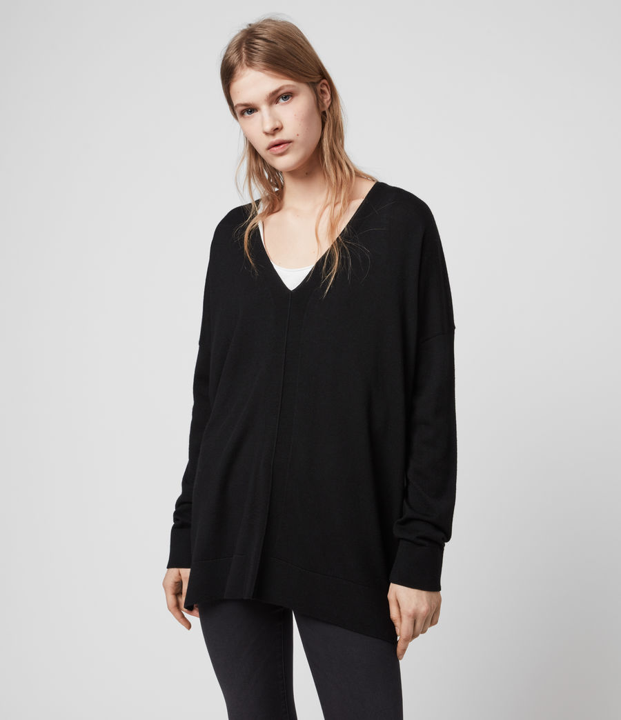 Womens Arly V-Neck Sweater (black) - Image 5