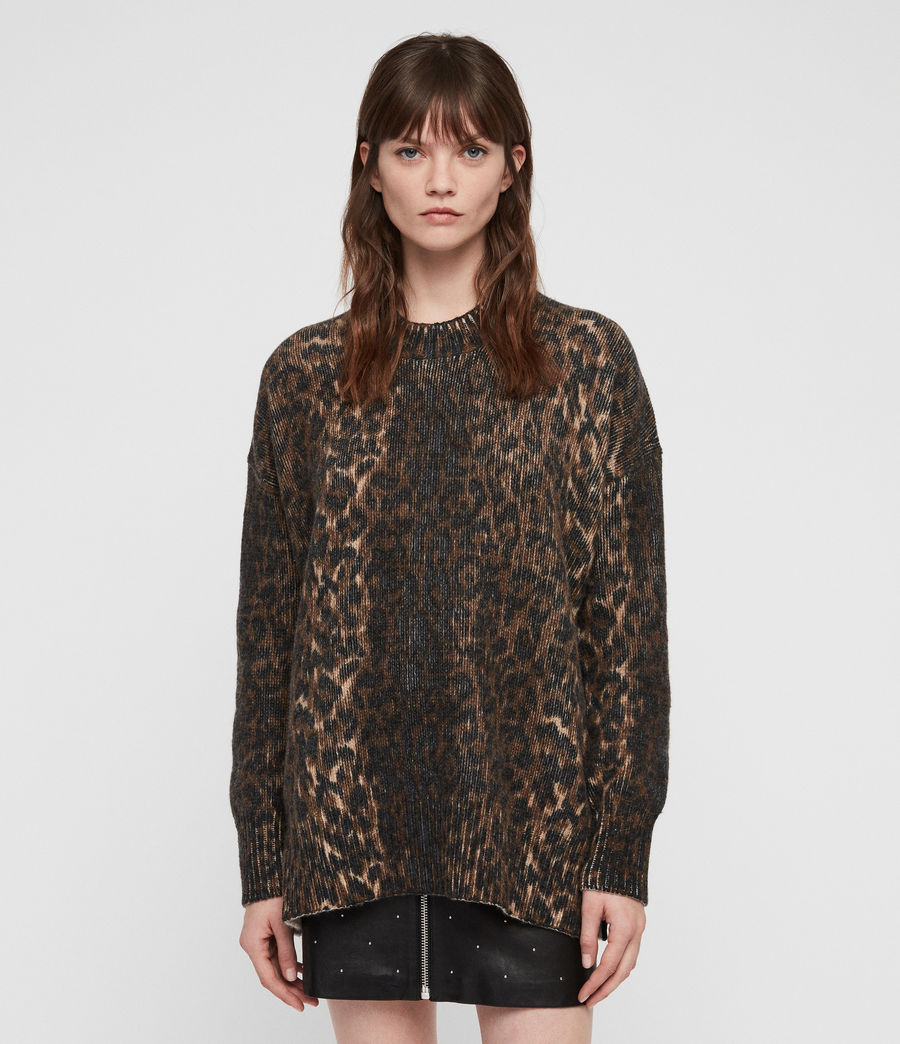Womens Leopard Sweater (leopard_brown) - Image 1