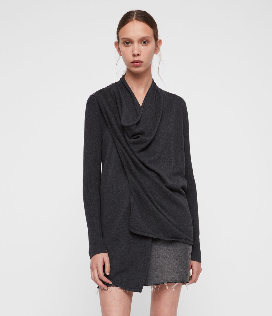 Women's Drina Cotton Cardigan (charcoal_grey) - Image 3