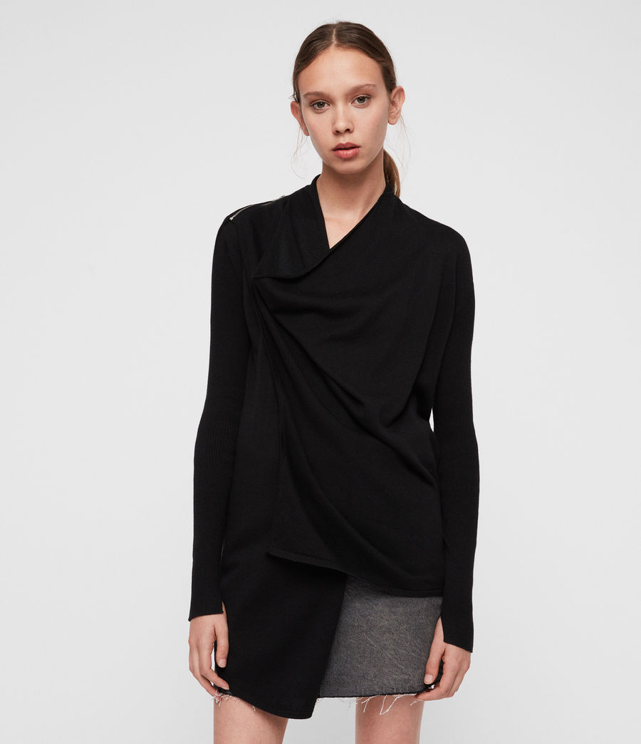 Womens Drina Cotton Cardigan (black) - Image 3