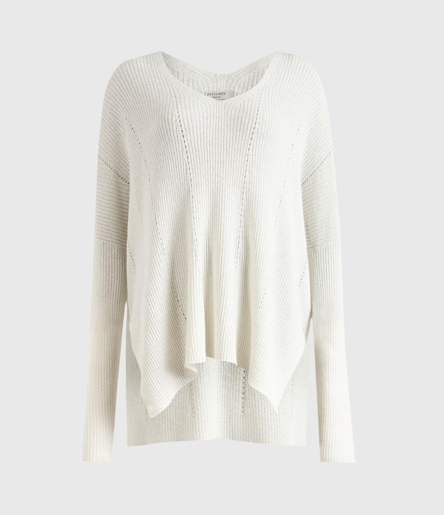 Damen Nahtloser V-Ausschnitt Pullover (chalk_white) - Image 2