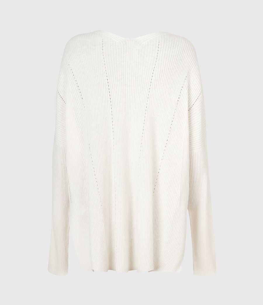 Damen Nahtloser V-Ausschnitt Pullover (chalk_white) - Image 3