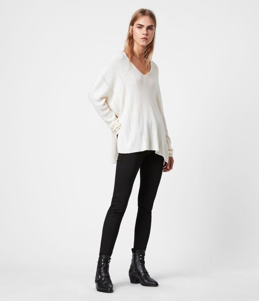 Damen Nahtloser V-Ausschnitt Pullover (chalk_white) - Image 4