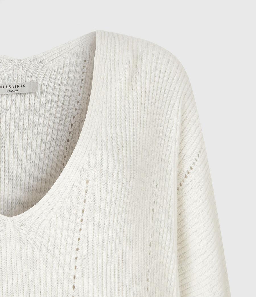 Damen Nahtloser V-Ausschnitt Pullover (chalk_white) - Image 5