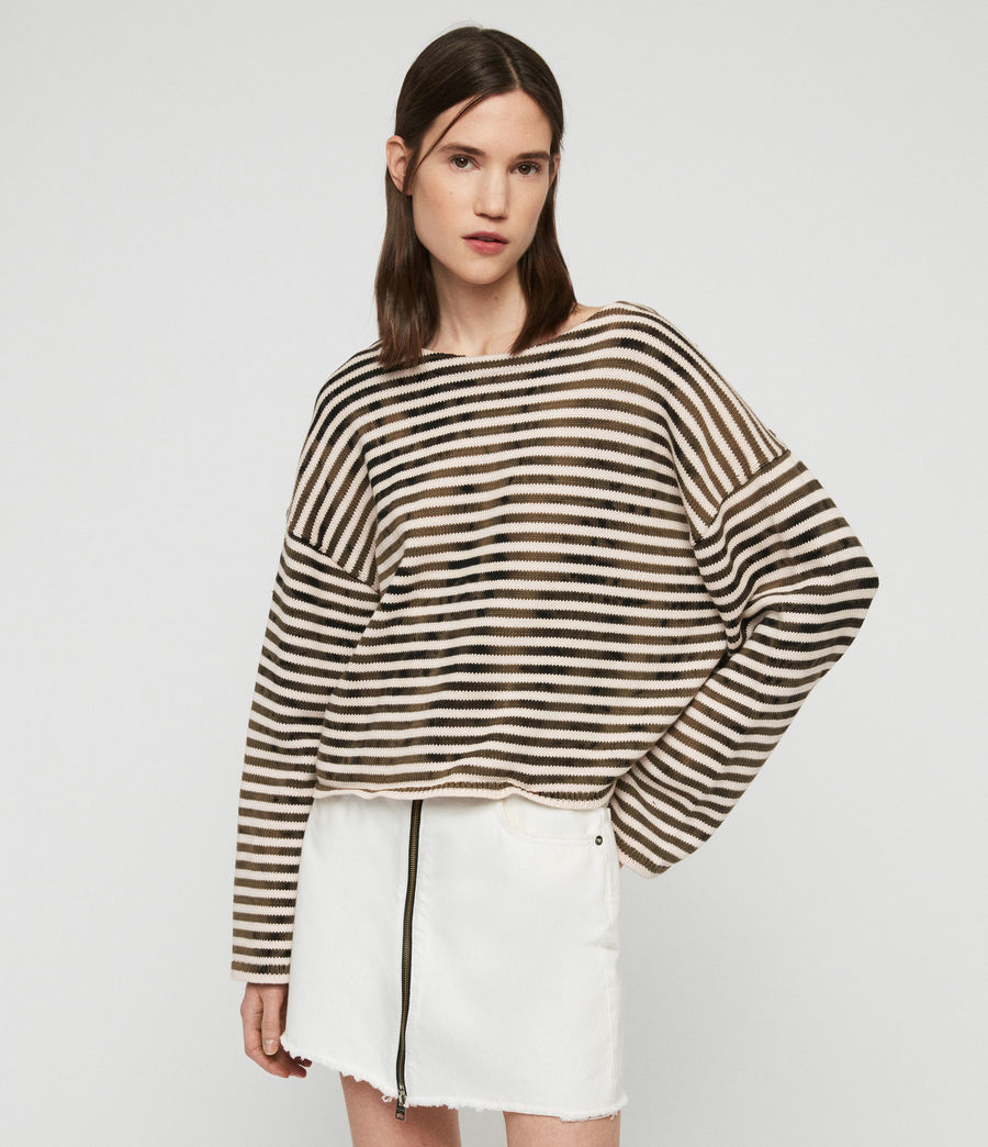 Damen Bleach Out Breton Pullover (ink_navy_stone_white) - Image 1