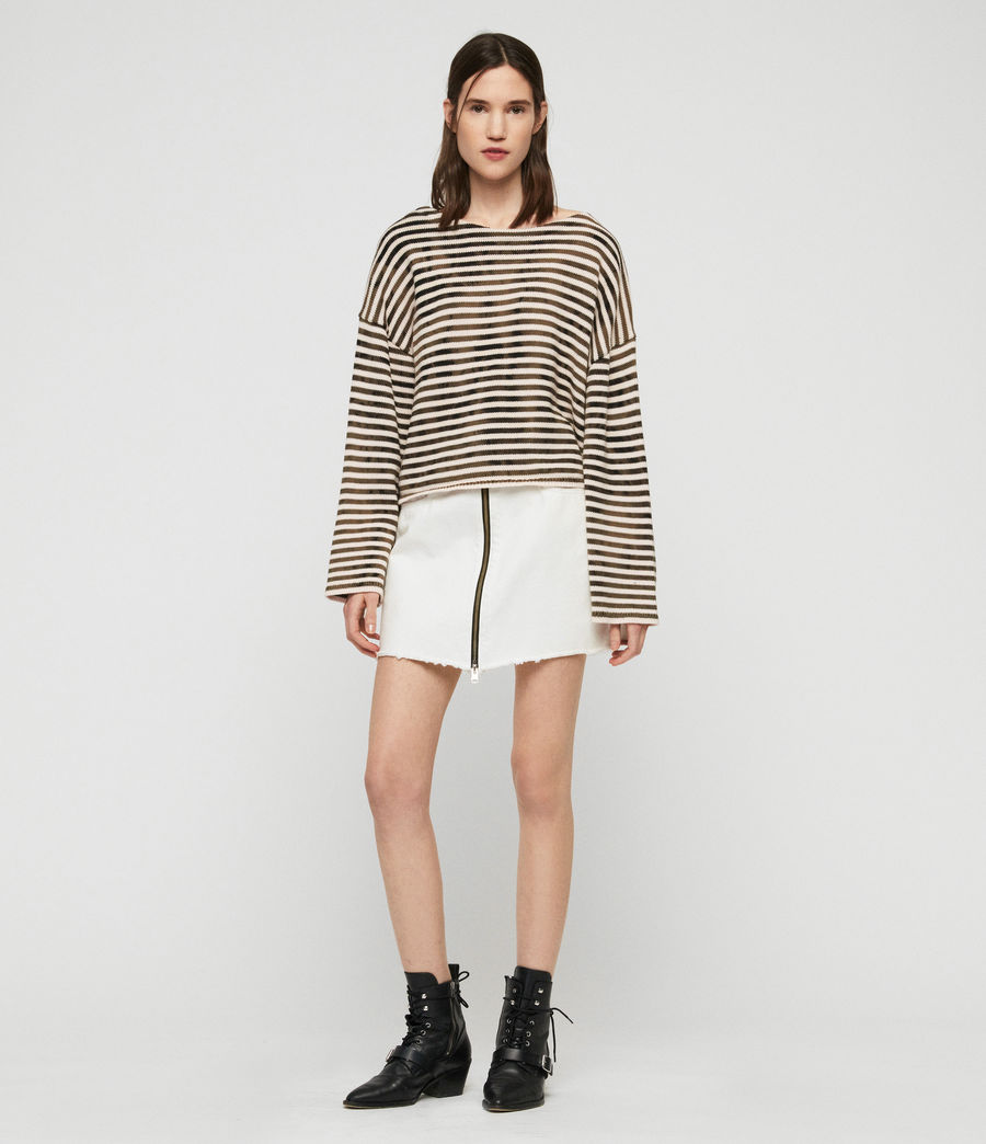 Damen Bleach Out Breton Pullover (ink_navy_stone_white) - Image 3