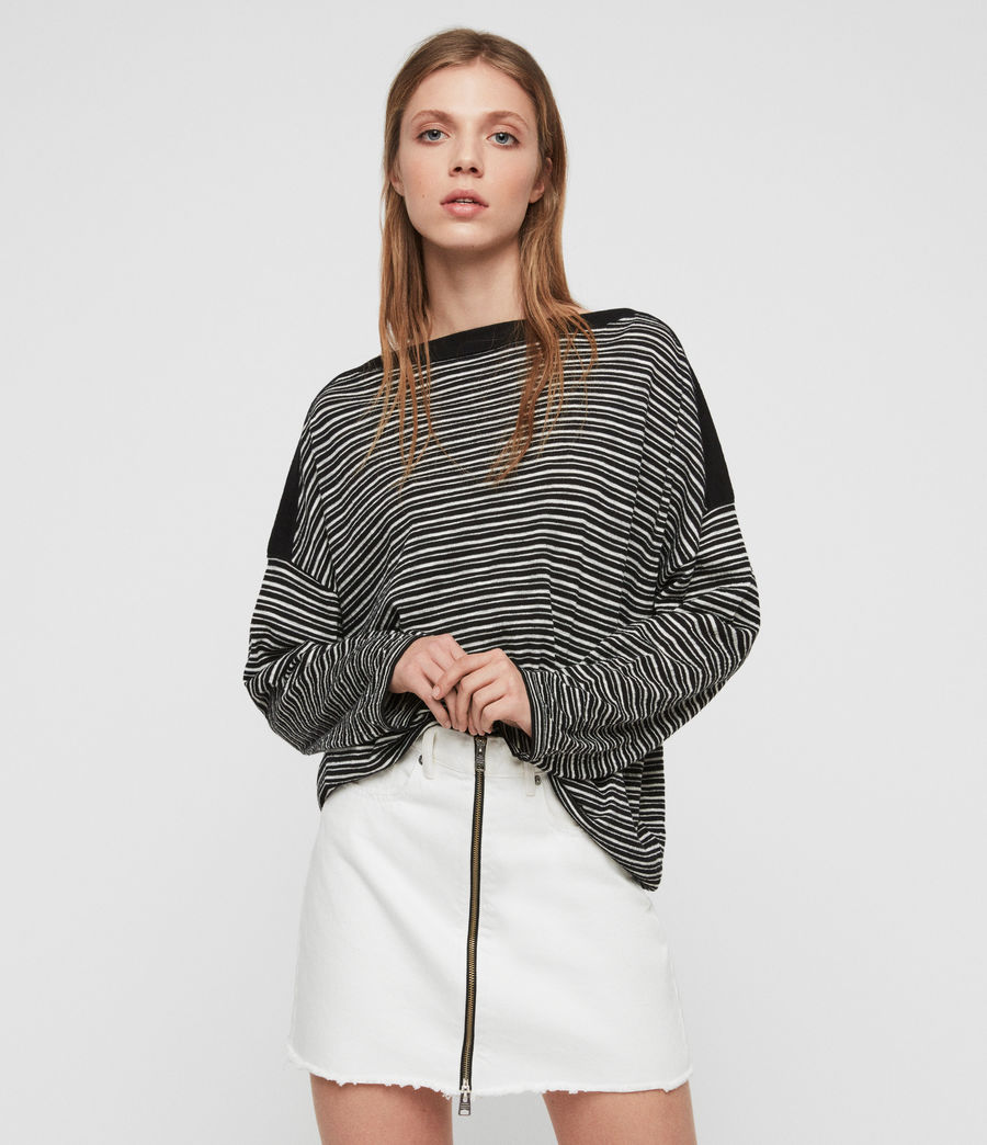 Women's Keya Stripe Jumper (black_chalk_white) - Image 1