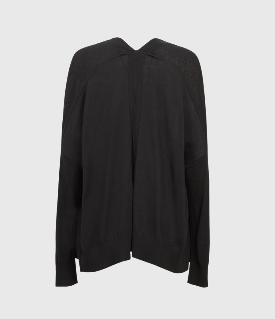 Womens Ronnie Linen Blend Cardigan (black) - Image 2