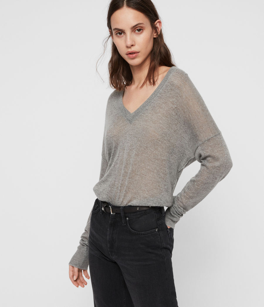 Women's Una V-Neck Jumper (pale_grey_marl) - Image 1