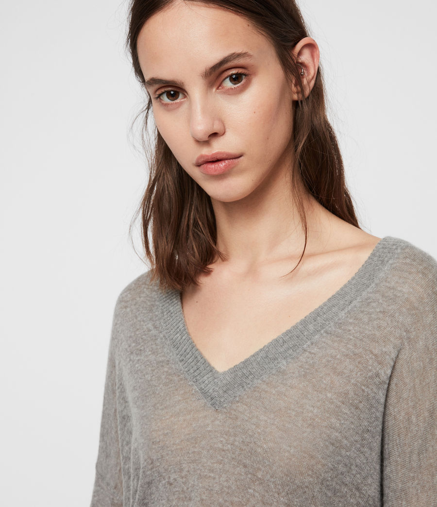 Women's Una V-Neck Jumper (pale_grey_marl) - Image 2