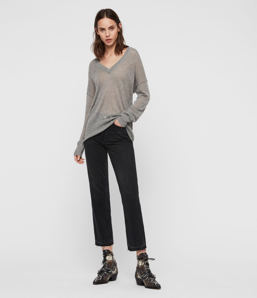 Women's Una V-Neck Jumper (pale_grey_marl) - Image 3