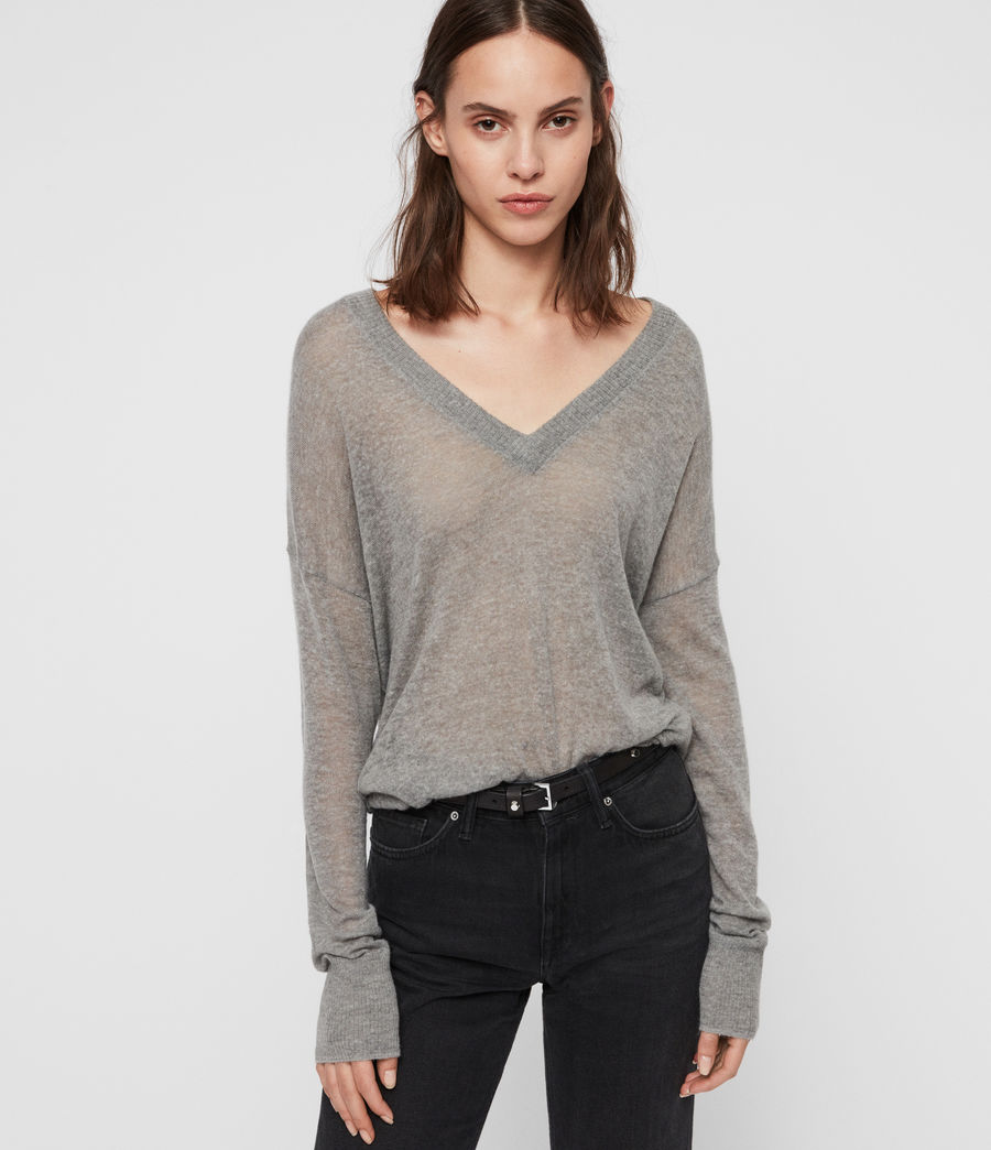 Women's Una V-Neck Jumper (pale_grey_marl) - Image 4