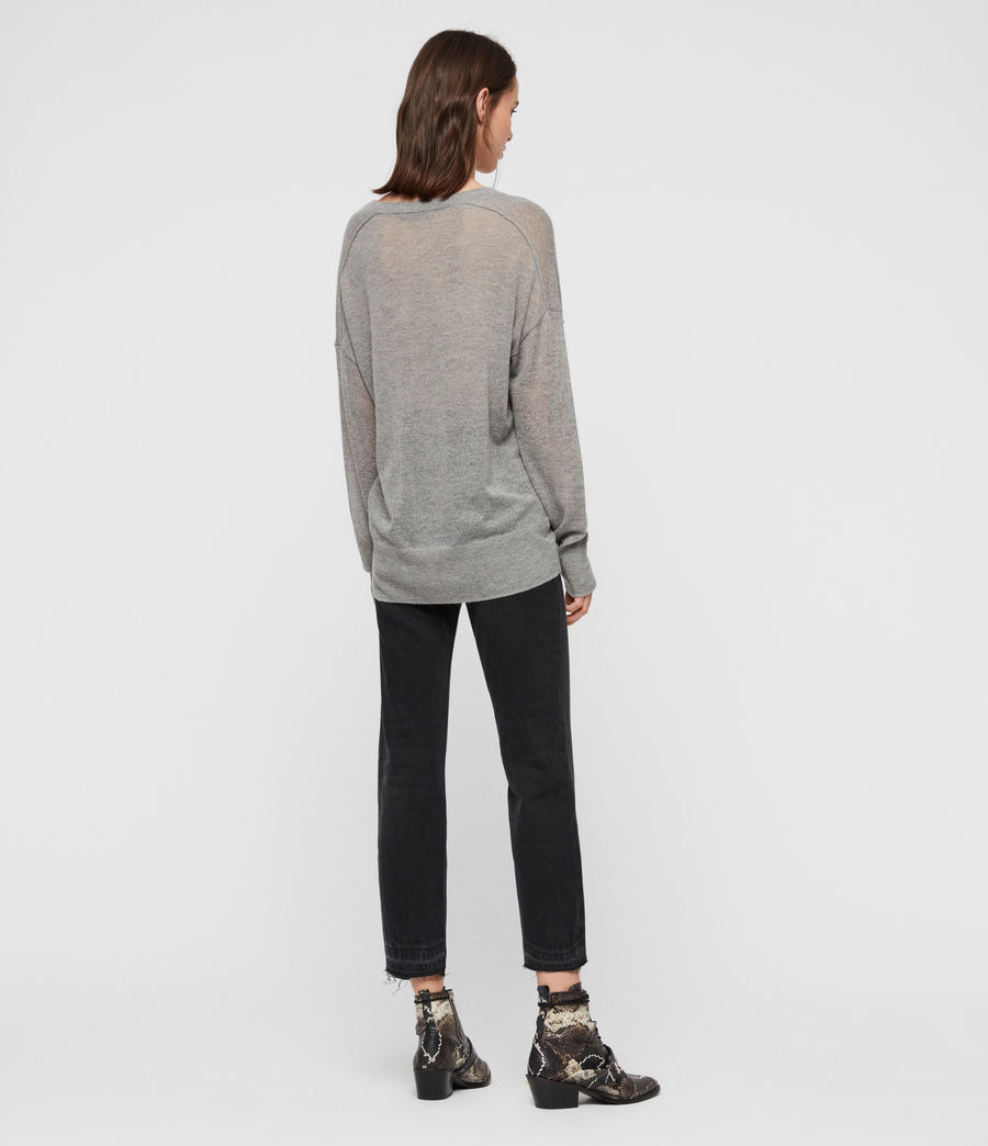 Women's Una V-Neck Jumper (pale_grey_marl) - Image 5