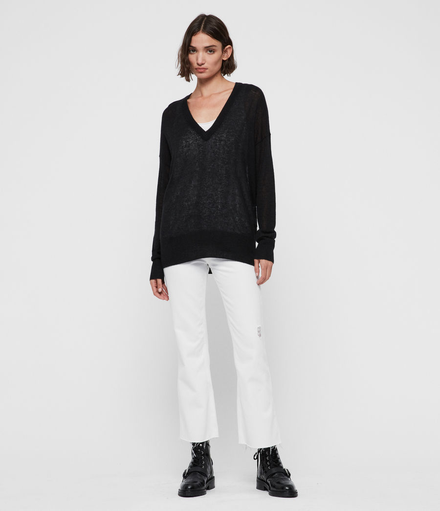 Womens Una V-Neck Sweater (black) - Image 3