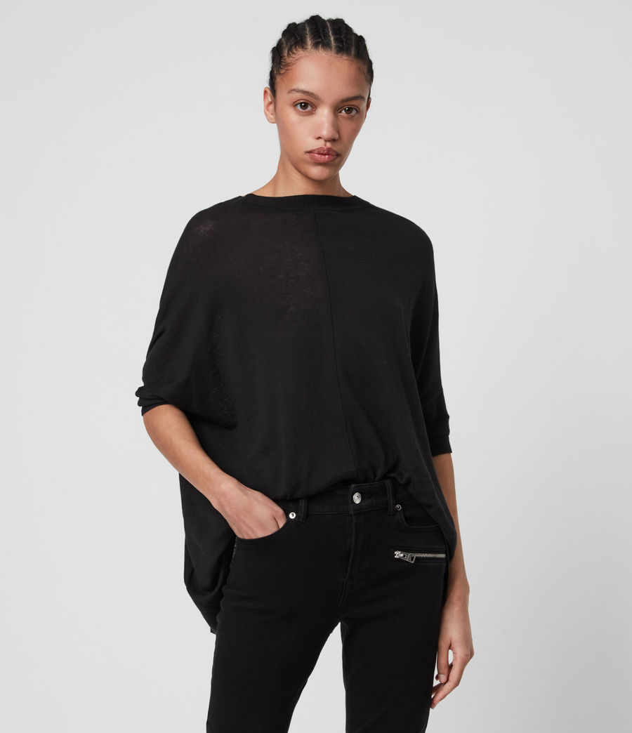 Womens Della Linen Blend Top (black) - Image 2
