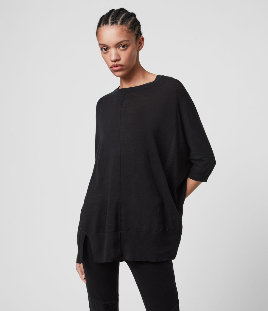 Womens Della Linen Blend Top (black) - Image 3