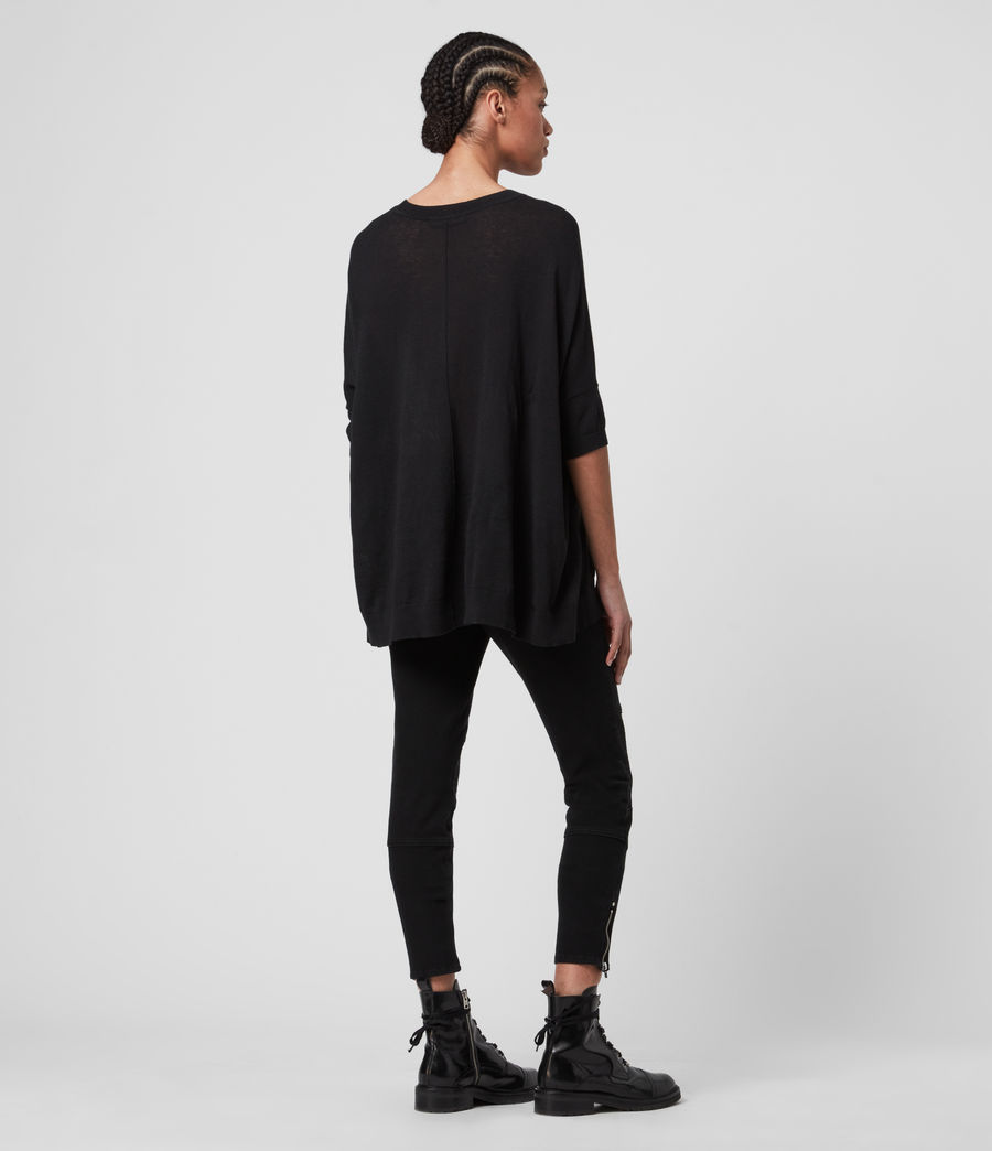 Womens Della Linen Blend Top (black) - Image 4