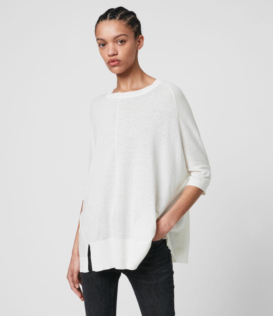 Womens Della Linen Blend Top (paper_white) - Image 1