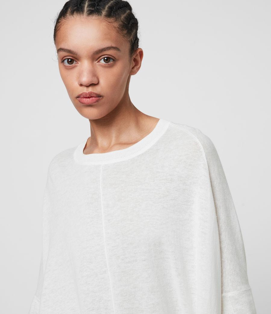 Womens Della Linen Blend Top (paper_white) - Image 2