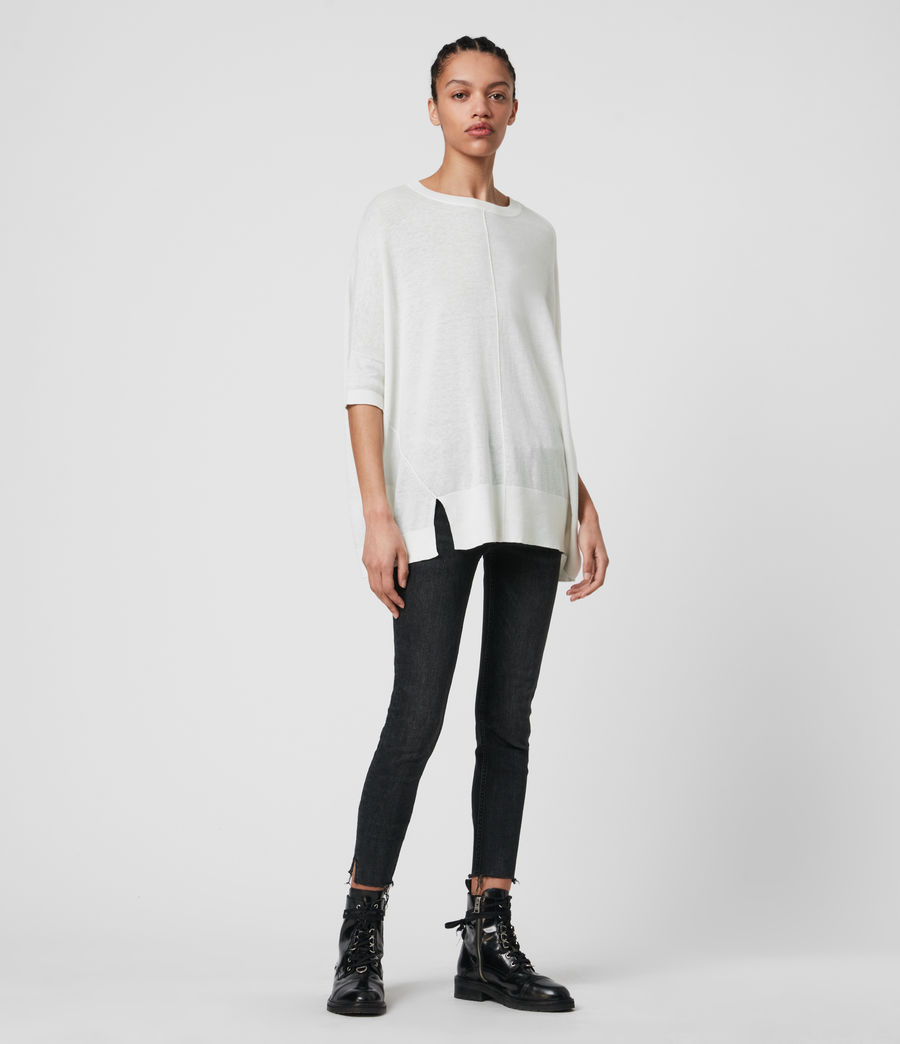 Womens Della Linen Blend Top (paper_white) - Image 3