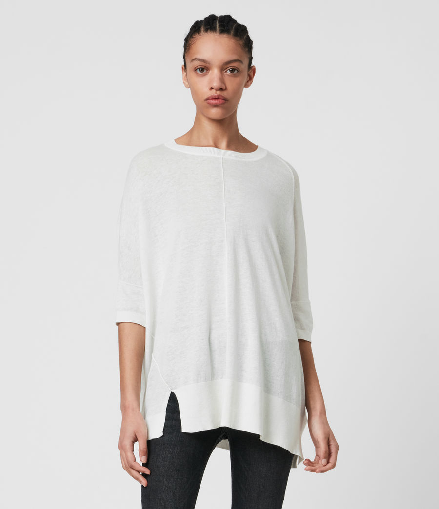 Womens Della Linen Blend Top (paper_white) - Image 4