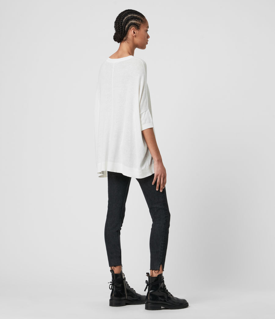 Womens Della Linen Blend Top (paper_white) - Image 5